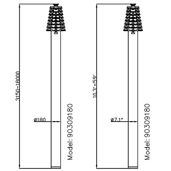 dimension of 18m mast