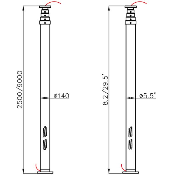 9m lighting mast tower