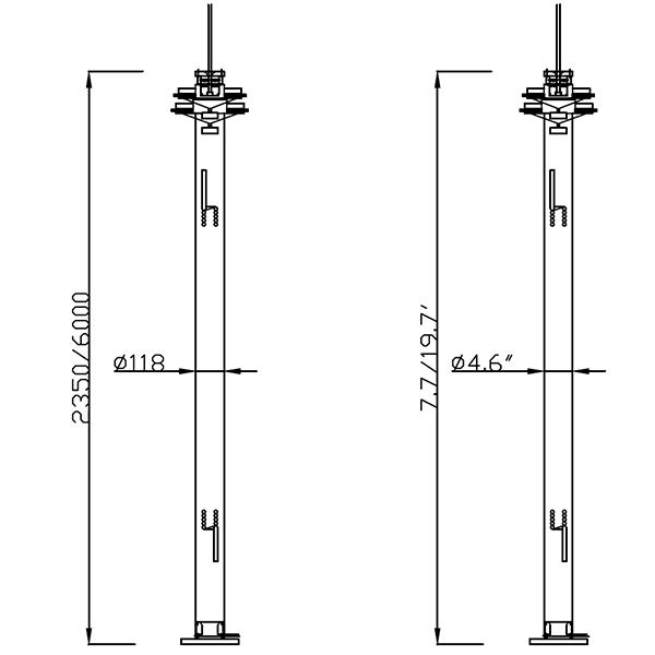 dimension of 6m cctv mast