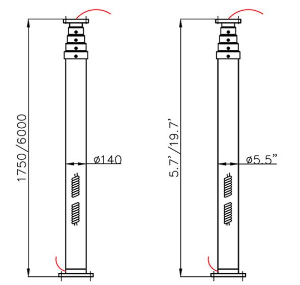 mast dimensions