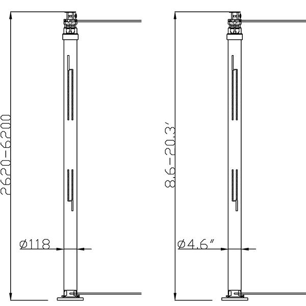 6.2m lighting mast dimension