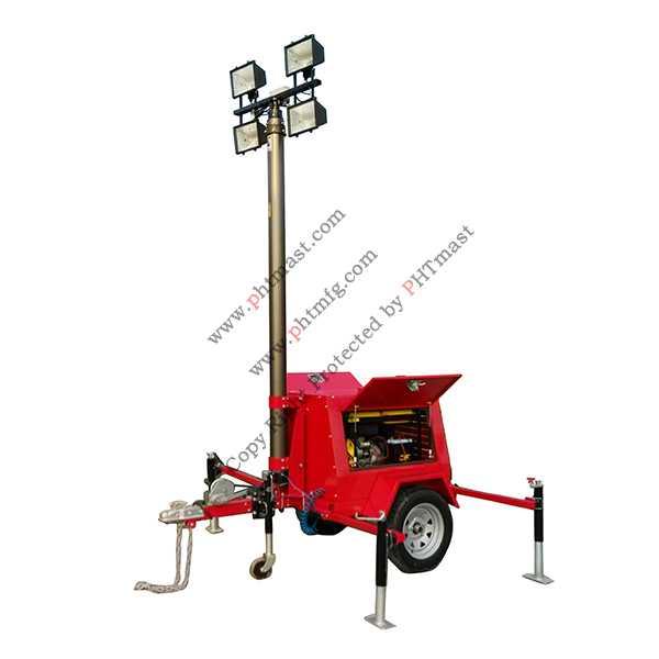 4000W Halogen Lamps Mobile Lighting Tower